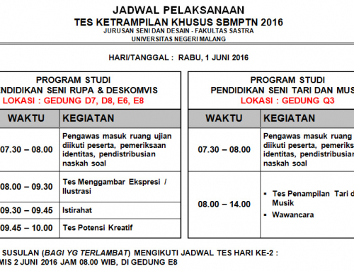 Jadwal Ujian Ketrampilan SBMPTN 2016