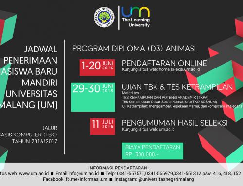 Jadwal Penerimaan Mahasiswa Baru Mandiri Tahun 2016/2017 Program Diploma (D3) Animasi Universitas Negeri Malang