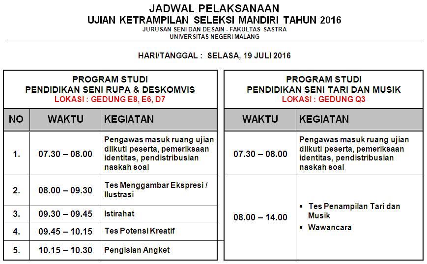 Jadwal Ujian Ketrampilan Seleksi Mandiri 2016
